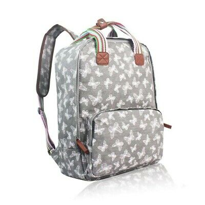 The Olive House® Womens Butterfly Print Matte Oilcloth Laptop Rucksack Bag Grey • 24.99£