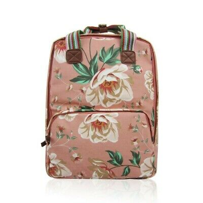The Olive House® Rose Floral Matte Oilcloth Rucksack Backpack Laptop Bag Pink • 24.99£