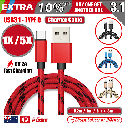 AU4.95 • Buy 5X Type-C USB-C 3.1 Male Data Snyc FAST Charger Charging Cable Samsung Galaxy