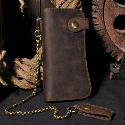 $23.99 • Buy Men's Leather Credit ID Cards Holder Long Chain Wallet Biker Trucker Heavy Thick