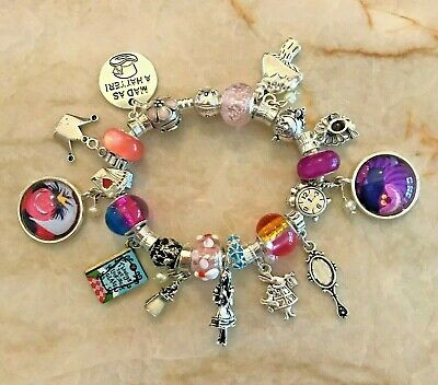 $48.95 • Buy ALICE IN WONDERLAND~Euro  Pandora  Bracelet~BOOK~CHK Out Cheshire Cat/Queen!