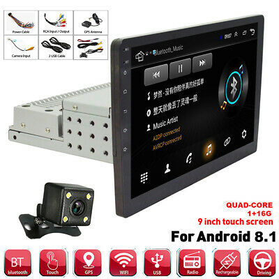 AU229.41 • Buy 9  1DIN Rotatable Android 8.1 1080P Car Stereo Radio GPS MP5 Player W/ Camera