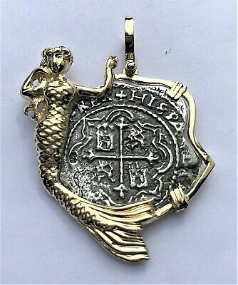 ATOCHA Coin Pendant Mermaid 14K Yellow Gold Treasure Jewelry • 575$