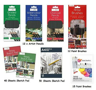 12 X Artist Pencils For Drawing Sketching Charcoal Watercolour Graded Pencil • 2.99£