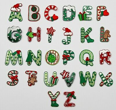 £1.10 • Buy Christmas Alphabet Letters Embroidered Motif Fabric Iron On Patch Children's