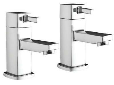 Modern Bathroom Basin Taps Hot & Cold Pair Twin Chrome Lever Handle Solid Brass • 31.85£