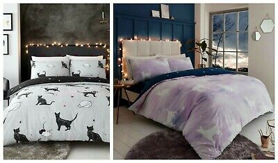 Pink Galaxy Star Cat Polycotton Duvet Cover Set New Design Reversible Blue Star • 13.97£