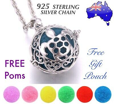 AU10.50 • Buy Turtle Essential Oil Diffuser Locket 925 Sterling Silver Chain Necklace Gift New
