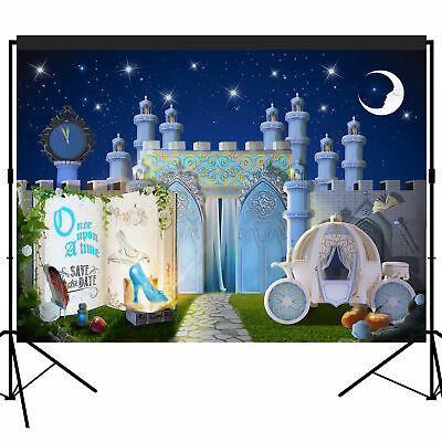 Fairytale Storybook Princess Castle Night Party Backdrop Scene Setters 7x5 Feet • 17.99£