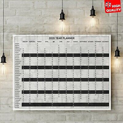 2020-2021 Mid-Year Planner Wall Calendar Black And White Style | A4 A3 A2 A1 A0 • 2.99£