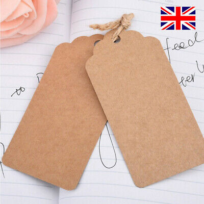 100pcs Brown Kraft Paper Gift Tags Wedding Scallop Label Blank Luggage + Strings • 3.85£