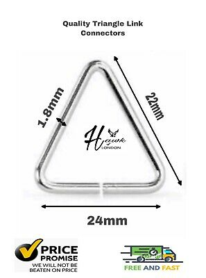 Triangle Link Connectors Key Ring Chain Split 24mm Nickle Jewellery Various Qnt • 9.67£
