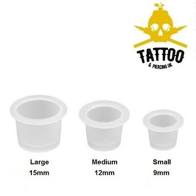 Tattoo Ink Cups / Pigment Mixing Pots - Clear Disposable Ink Holders - 3 Sizes • 1.99£