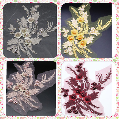 3 D Flower Embroidery Bridal Lace Applique Pearl Beaded Wedding Applique • 2.99£