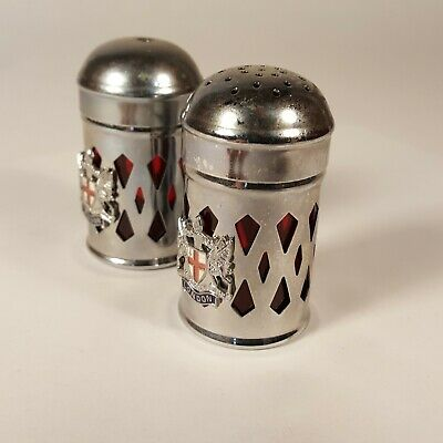Vtg Salt And Pepper Shakers 2-1/4  Aluminum W/ Red Plastic Core London Souvenir • 13.59$