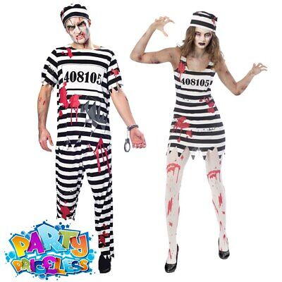 Adult Mens Ladies Zombie Convict Prisoner Costume Halloween Fancy Dress Outfit  • 11.99£