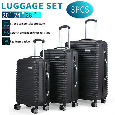 View Details 3 Piece Luggage Set Trolley Travel Suitcase Nested Spinner ABS+PC W/ Cover Black • 85.99$