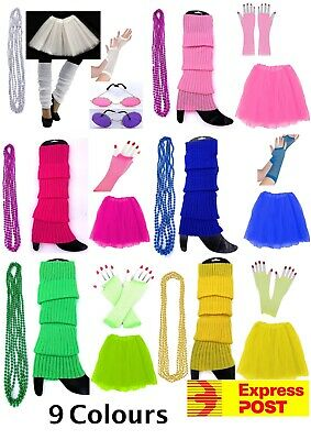 AU27.90 • Buy Ladies 80s Tutu Skirt Fishnet Gloves Leg Warmers Necklace 1980s Dancing Costumes