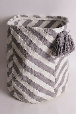 $27.96 • Buy New In Package Pottery Barn Kids Gray Chevron Tassel Storage Bin Basket
