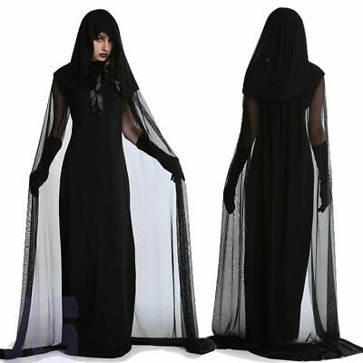 Halloween Womens Wicked Witch Costume Vamp Bride Hooded Cape Dress Fancy Dress • 14.89£