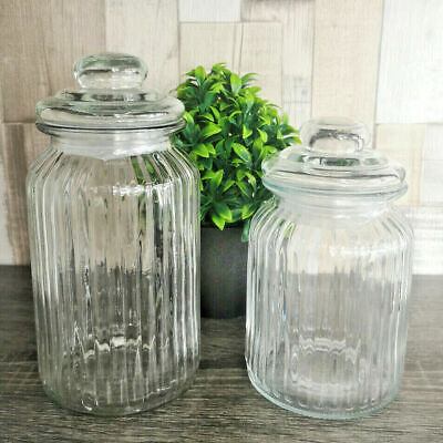 Ribbed Glass Storage Jars With Lid Small Kitchen Sweet Containers 1300ml 990ml • 10.49£