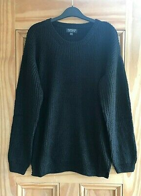 Topshop New Black Ribbed Chunky Knit Oversized Slouchy Jumper Top Size 6  • 9.99£