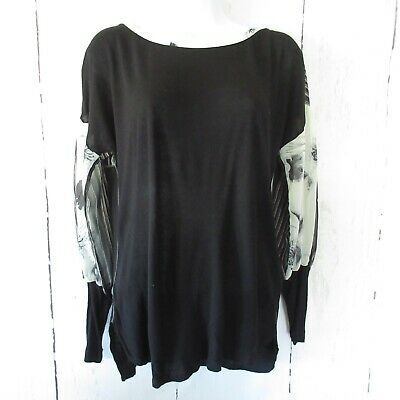 $ CDN29.33 • Buy Tiny Anthropologie Top S Small Black Floral Stripe Puff Sleeve Mixed Media
