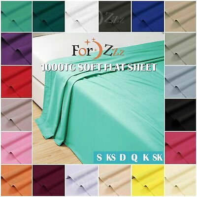 AU31.99 • Buy 1000TC Soft Top Flat Sheet Single/King Single/Double/Queen/King/SK Size Bed