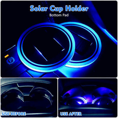 $4.50 • Buy 1PC Solar Cup Pad Car Accessories LED Light Cover Interior Decoration  Qwe