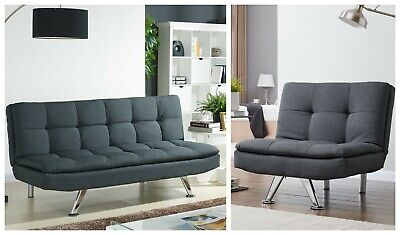 £139.99 • Buy Charcoal Fabric 3 Seater Sofa Bed Set Sofabed And Or Single Chair Lounge Suite