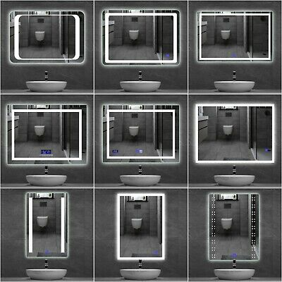 LED Bathroom Mirror Lights Illuminated Mirrors TOUCH SWITCH Demister Pad Heated  • 45.99£