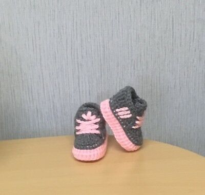 Handmade Crochet Baby First  Shoes Wool Casual Boots Slippers Trainers Unisex • 4.99£