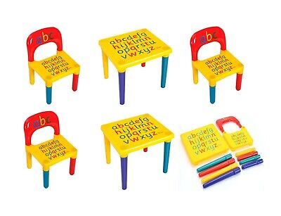 Plastic ABC Alphabet Children Table Chair Set Gift Child Kids Toddlers • 24.99£