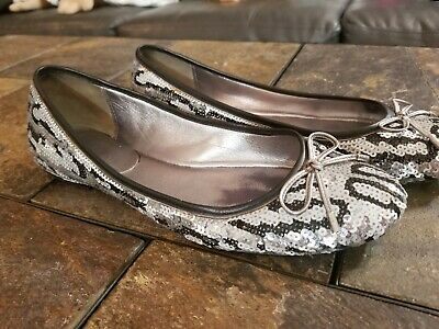 $17.99 • Buy Women's Flats Coach Brand Size 6.5 Black Silver White Micro Sequins Very Pretty