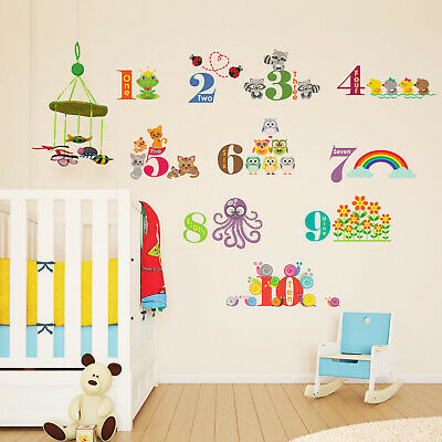 Walplus Wall Stickers Self-adhesive Animal Numbering Kid DIY Art Decal Nursery • 7.99£