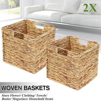 Set Of 2 Square Seagrass Woven Wicker Storage Basket Organizer Cube With Handle • 18.98£