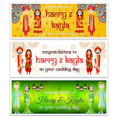 X 2 Personalised Asian Wedding Day Night Hindu Banners Party Wall Decorations • 3.99£