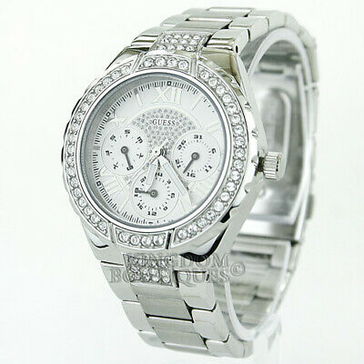 $ CDN127.88 • Buy New GUESS Women's Watch Shimmer Silver Steel Crystals MF W.Resistant Montre NwT