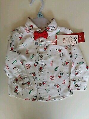 F&F Boys Christmas Shirt And Bow Tie Age 6-9 Months White And Red  • 5.09£