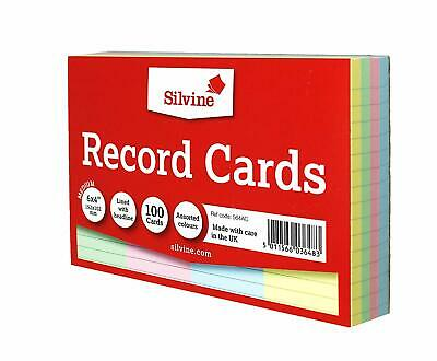 £2.99 • Buy Pack Of 100 Record Cards Ruled 6  X 4  Assorted Colours - Revision Index Cards