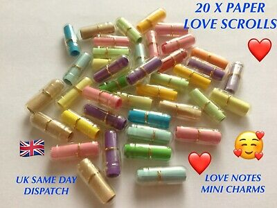 £2.89 • Buy 20 Clear Message Capsules Paper Love Scrolls Mini Wish Bottle Love Notes Charms