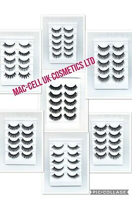 £3.79 • Buy Wispy False Mink EyeLashes 3D Layered Russian Volume 5 Pairs Strip Natural Thick