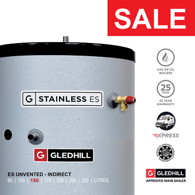 £414.99 • Buy Gledhill Stainless ES Unvented Hot Water Cylinder 150L INDIRECT Ref: SESINPIN150