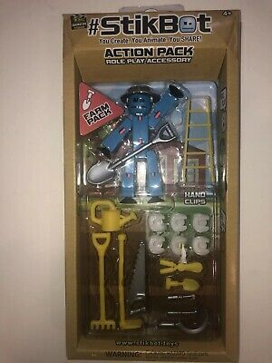 Stikbot Action Farm Pack Role Play Accessory Blue Black Bot Create Animate • 8.58£