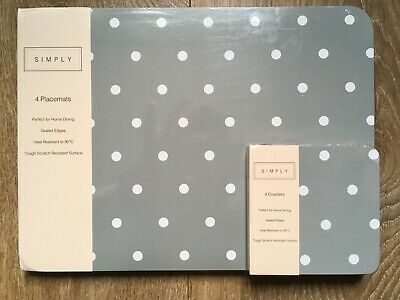 £13.99 • Buy 4 Dining Placemats & 4 Coasters Tablemats Grey Polka Dot Country Modern