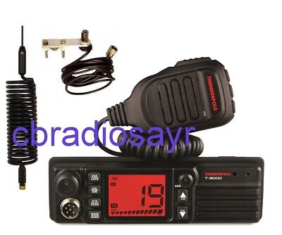 Thunderpole T-3000 AM/FM CB Radio, Flat Bar Mirror Mount Kit & Small Springer • 134.50£