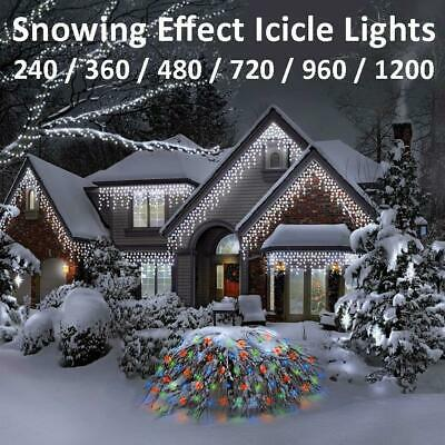 LED Icicle Snowing Effect Lights Wedding Party Xmas Indoor Outdoor Memory Timer • 144.99£