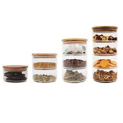 £10.95 • Buy Glass Food Canister Jar With Natural Bamboo Lid Silicone Ring, Stackable Jars