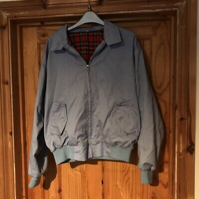 Men's Harrington Jacket Light Blue Bomber Tartan Skinhead Mods Relco Medium • 17£