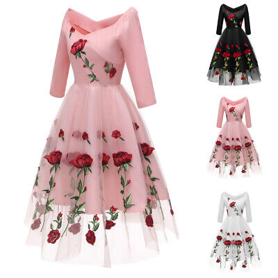 £30.32 • Buy Women Embroidery Lace Dress Formal Evening Party Bridesmaid Prom Ball Gown Dress